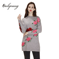 Ordifree Pull Femme Embroidery Long Sweater 2017 Autumn Winter Long Sleeve Floral Embroidered Knitted Pullover Women