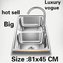 Квартиры высокого качества двойной кухонный паз раковина сделать блюда 304 из нержавеющей стали большая Горячая 810x450 мм