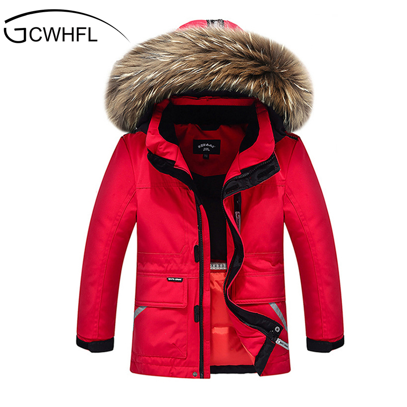 Boys Girls Real Raccoon Fur Collar Quilted Waterproof Duck Down Jacket Outwear Children Kids Winter Warm Coat new winter girls boys hooded cotton jacket kids thick warm coat rex rabbit hair super large raccoon fur collar jacket 17n1120