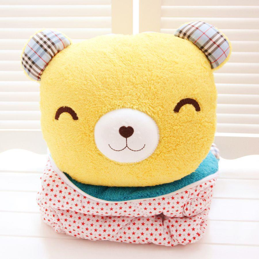 1PC 30X35Cm plush cartoon Bear pillow Blanket (100x150Cm) 2 in 1 Air Conditioner blanket Cute Baby Qulit birthday Christmas gift
