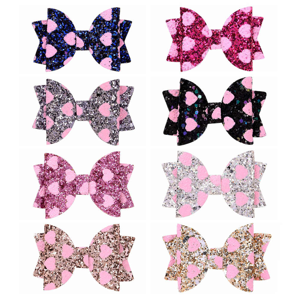 3 inch Handmade Dots Sequins Litlle Girls Hair Bows Clip Shiny Glitter Cute Hairpins Daily School Barrettes Headwear Accessoires