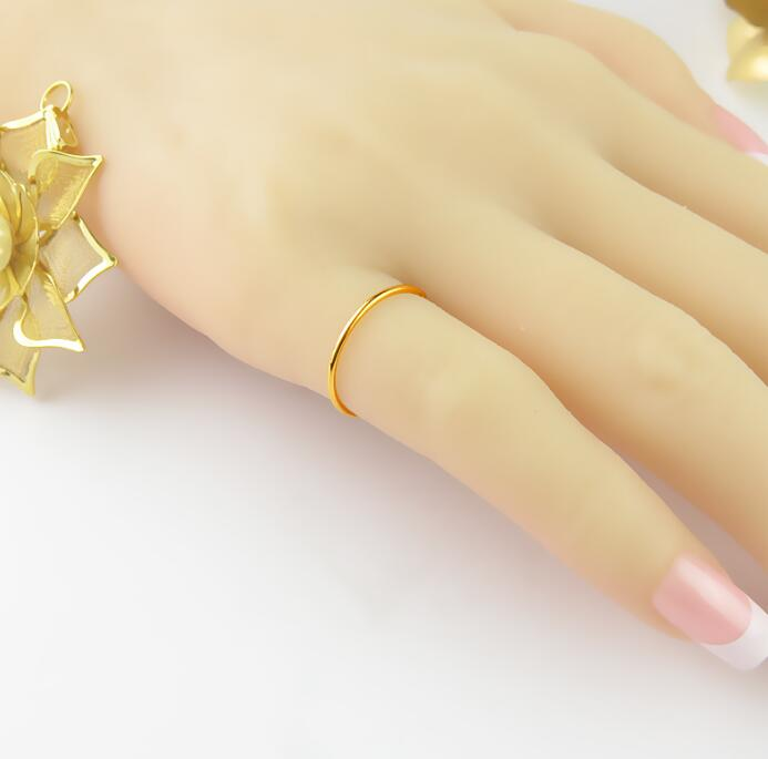 Authentic 24K Yellow Gold Ring Women s Little Finger Ring Band in