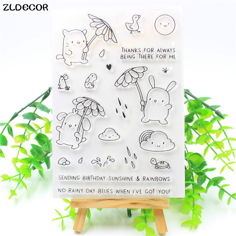 ZLDECOR Sunshine And Rainbows Transparent Clear Silicone Stamps for DIY Scrapbooking/Card Making/Kids Fun Decoration Supplies kscraft butterfly and insects transparent clear silicone stamps for diy scrapbooking card making kids fun decoration supplies