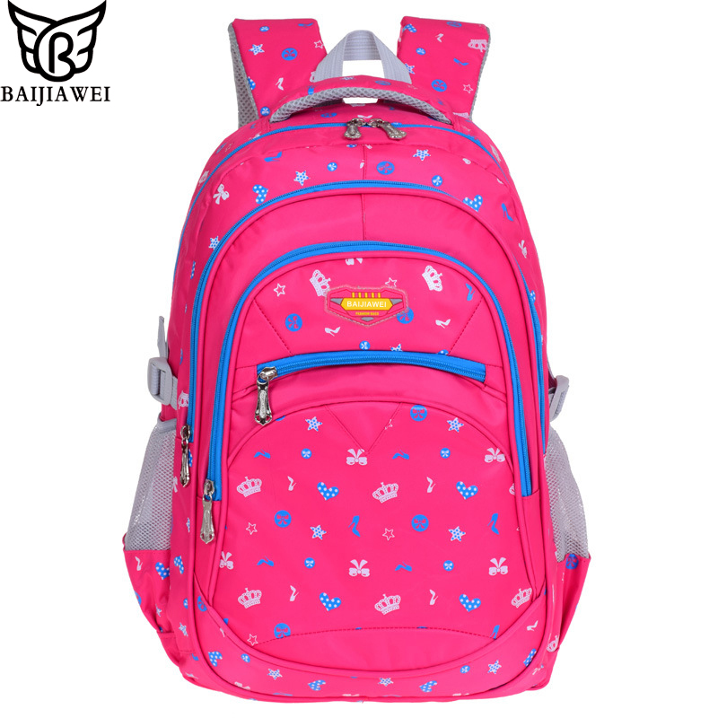 BAIJIAWEI 2017 New Children Backpacks Primary Students School Bags Waterproof Schoolbag For Boys Girls Mochila Infantil Zip
