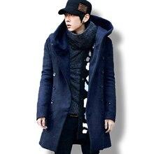 Erkek kış vintage uzun hırka 2018 erkek yün ve karışımları kapüşonlu ceket erkekler manteau homme streetwear Kewlstyle asya boyutu TR07