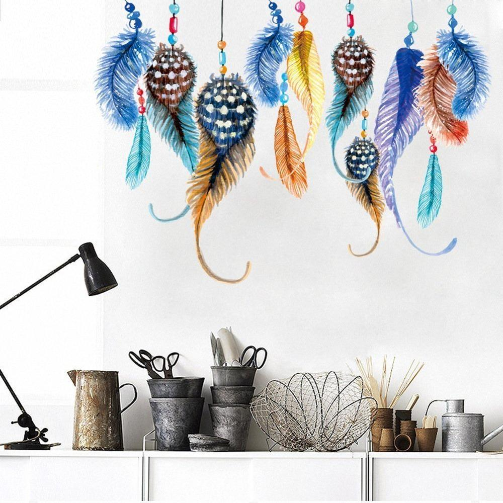 Creative Color Feather Wall Sticker For Bedroom Living Room Background Removable Wallpaper Waterproof Home Dcor