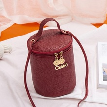 Women Bucket Handbags Metal Letters Zipper Shoulder Bags Crossbody Female