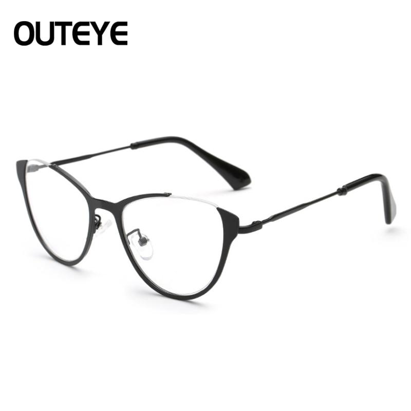 52f1e42b24 OUTEYE Vintage Cat Eye Alloy Eyewear Frame Myopia Glasses Frame Women  Optical Eyeglasses Men Computer Glasses Frame Clear Lens-in Eyewear Frames  from Men s ...
