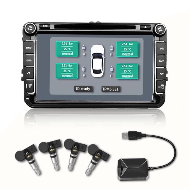 433.92MHz Tire Pressure Monitoring System USB TPMS Tire Pressure Alarm with 4 Internal Sensors for Android DVD player