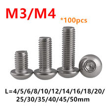 100pcs ISO7380 Hexagon Socket Button Head Screws M3 M4*4/5/6/8/10/12/16/18/20/25/30mm Stainless steel A2-70 Round Mushroom Bolts(China)