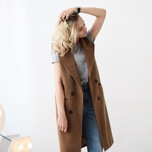 Vest Spring Autumn 2016 Casual Elegant Camel Brown Grey Black Peacoats Jackets Women's Wool-like Tank Vest Free Shipping
