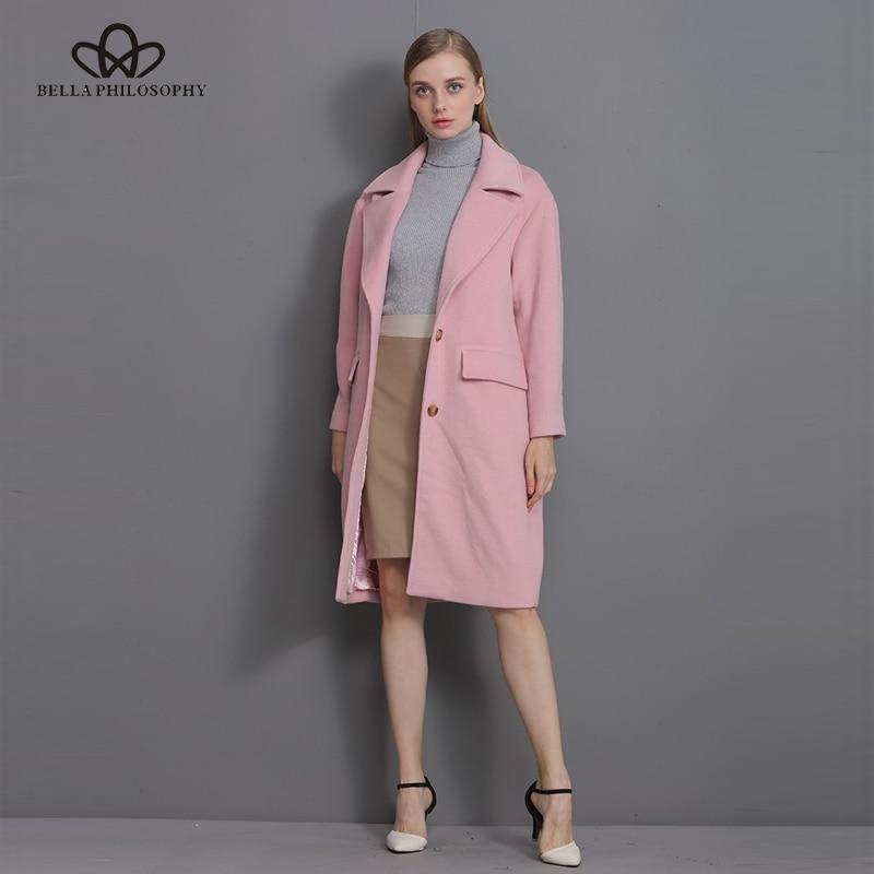 Bella Felsefesi 2018 Yeni yün uzun kalın ceket ceket Kadınlar - Bayan Giyimi - Fotoğraf 2