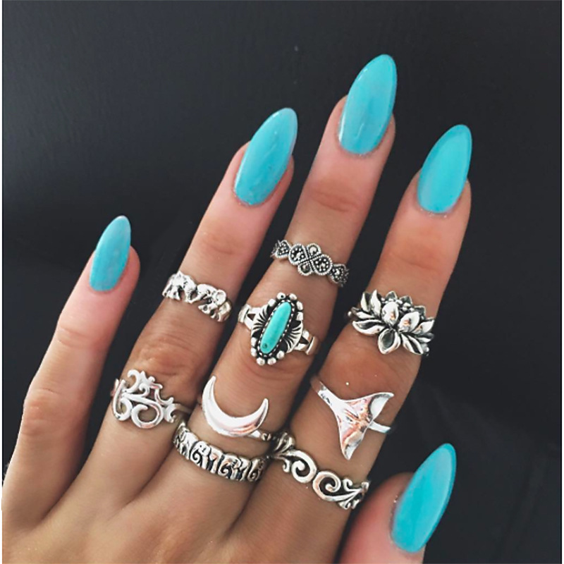 9pcs/Set Retro Rings Set Mixed Elephant Lotus Moon Knuckle Midi Rings Antique Silver Color Anillos Mujer Jewelry Gift