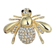 Cute Tiny Bee Brooches For Women Man Crystal Costume Pin Silver Gold Color Hijab Scarf Corsage Coat Sweater Clips Broches spille