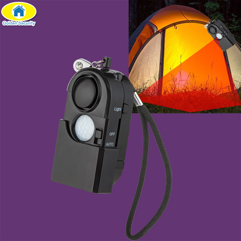 120dB Camping Alarm PIR Infrared Motion Detector Alarm Personal Alarm Keychain LED Light Flashlight Portable Security Sensor ...