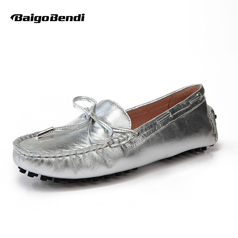 US Storlek 5 6 7 8 9 Ny guld silver REAL Läder Lace Up Slips Loafer Driving Moccasin Slip på Loafer Women Flat Ballet Flat Skor