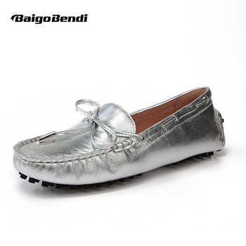 US Size 5 6 7 8 9 New Gold silver REAL Leather Lace Up tie Loafer Driving Moccasin slip on Loafer women flat ballet flat Shoes - DISCOUNT ITEM  10% OFF All Category
