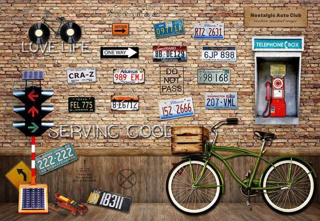 US $26.4 56% OFFcustom 3d wallpaper Retro bike license plate background  wall 3d wallpaper for room 3d name wallpapers-in Wallpapers from Home