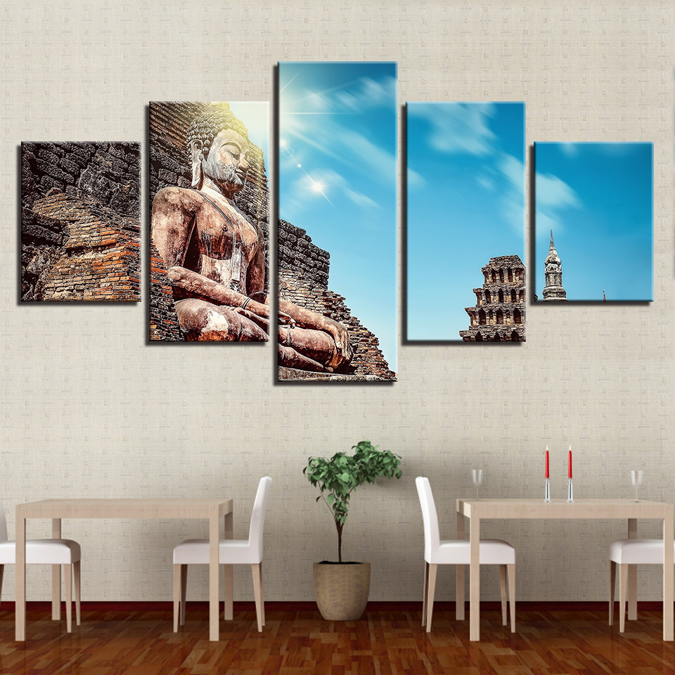 Frame Wall Art Poster Modern Canvas HD 5 Panel Vintage Statue Of Buddha Home Decor Living Room Print Painting Modular Pictures