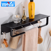Bathroom Shelves with 5 Hooks Aluminum Black Bathroom Shelf Corner Shelf Storage Rack Wall Mounted Single Towel Bar Holder free shipping ciencia triangle black corner caddy bathroom shelf with hooks wall mounted kitchen storage with nail free glue