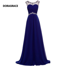 DORAGRACE Real Photos In-Stock Beaded Cap Sleeve A Line Floor-Length Royal Blue Chiffon Evening Dresses DGE086