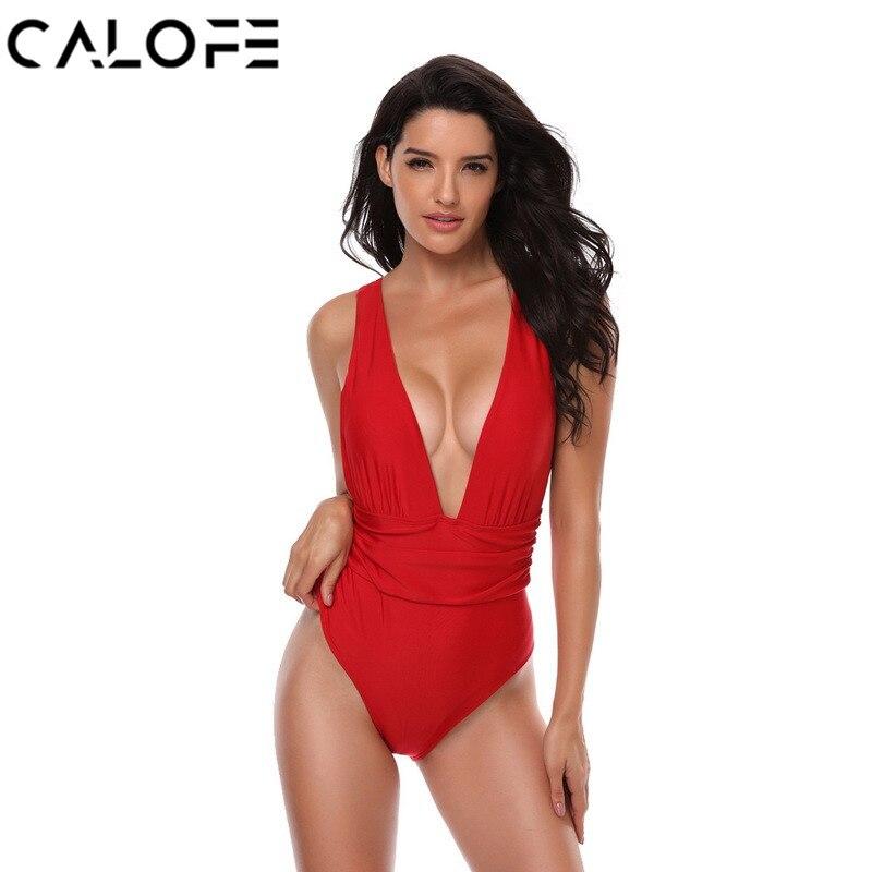 CALOFE 2018 Sexy Deep V Beach One Piece Swimsuit Women Beachwear Red One Piece Bathingsuit Halter Monokini Swimming Suit Biquni