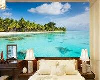 Custom High Fresco HD Seaside Coconut Beach TV Wall Background Wallpaper Picture Papel De Parede Wallpaper