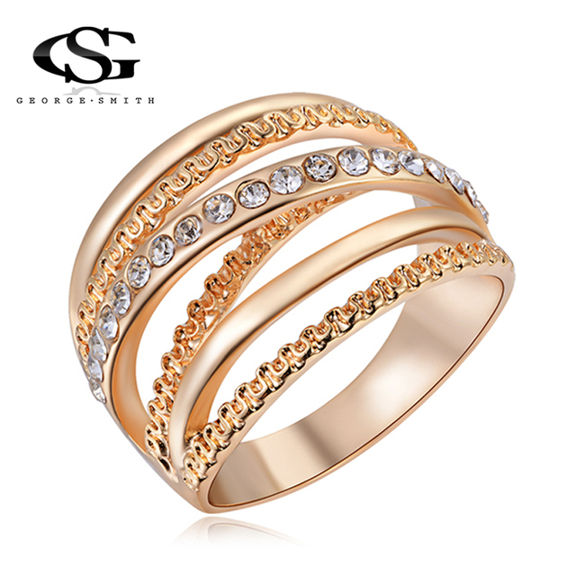 GS 2018 New Gold Color Multilayer Hollow Rings For Women High Quality Stainless Steel Trendy Stack Finger Ring Men Jewelry G4