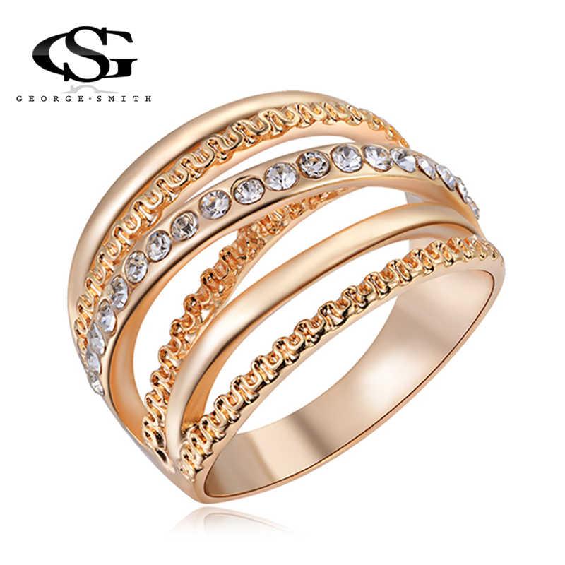 GS 2018 新ゴールド色多層中空リング女性のための高品質ステンレス鋼トレンディスタック指リング男性のジュエリー r4