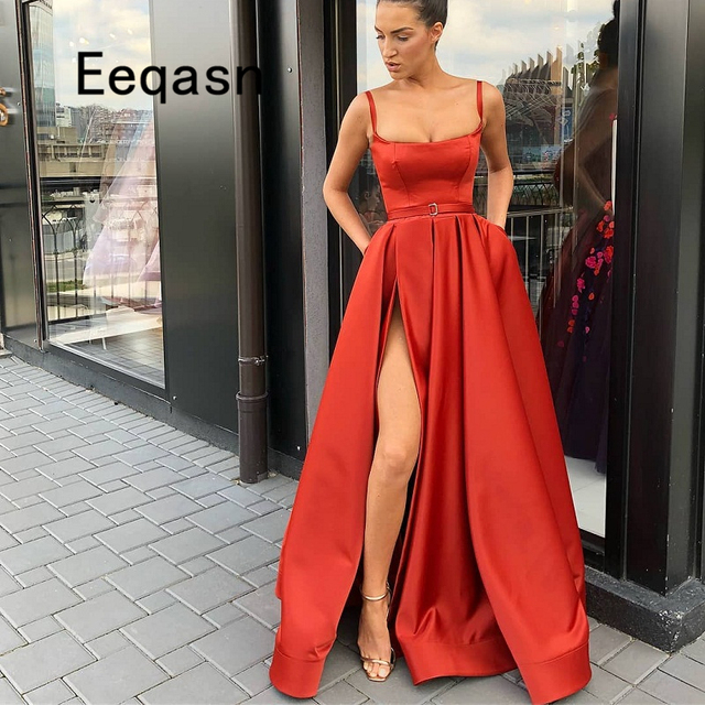 Elegant Red Evening Dresses Long 2018 Satin Strapless Slit African Formal  Evening Gown with Pockets Prom Dress Abendkleider 89e45df14eab