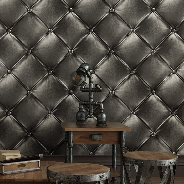 Europe style luxurious Simulation Leather 3D TV background wall paper Simple Bedroom KTV Soft Wallpaper pvc wall sticker