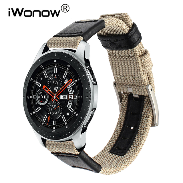 Genuine Nylon + Calf Leather Watchband for Samsung Galaxy Watch 46mm SM-R800 Qui