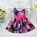New Infant Christening Gown Print Dress Sleeveless Big Bow Belt Toddler Newborn Cotton Print Vestido Clothes First Years