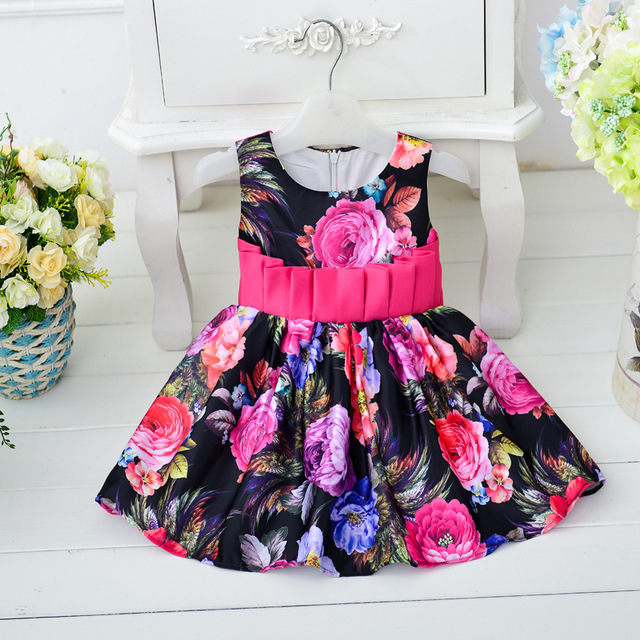 New Infant Christening Gown Print Dress Sleeveless Big Bow Belt Toddler  Newborn Cotton Print Vestido Clothes 5563fb96179b