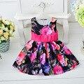 Nuevo vestido del bautizo print dress cinturón niño recién nacido algodón imprimir vestido sin mangas arco grande ropa de primeros años