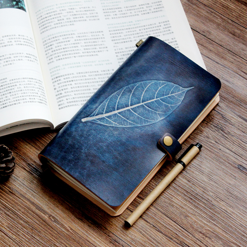 Leaf Vintage Genuine Leather Travelers Notebook Portable Diary Tn Planner 2017 agenda Traveler Notebook Journal Creative-gifts genuine leather notebook travelers journal agenda handmade planner notebooks diary caderno sketchbook school supplies