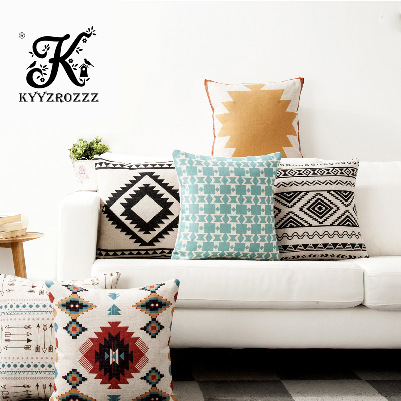 Nordic Blue Sofa Cushions Cover Linen Cotton Bohemian Ethnic Throw Pillows Covers Grey Decoration Geometric Cushions Cover
