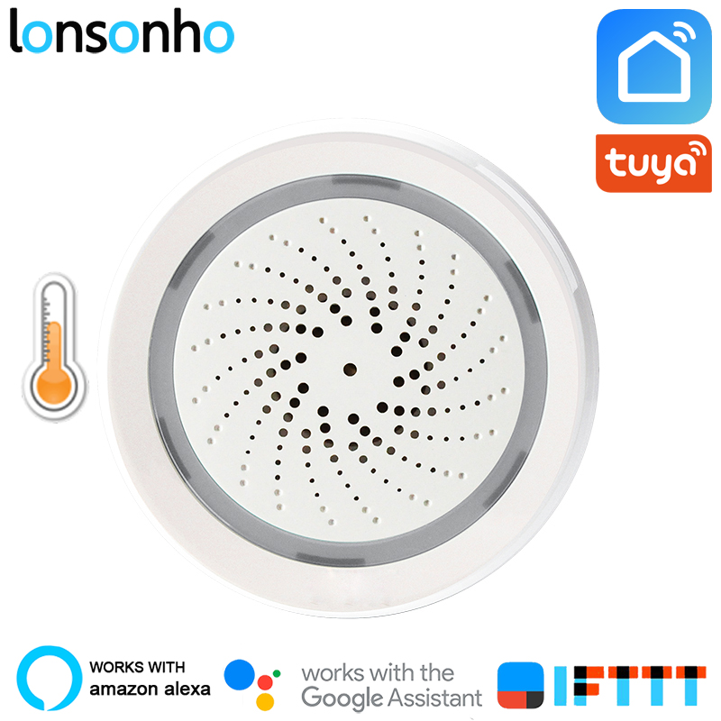 Lonsonho Wireless Wifi Alarm Siren Smart Sirena Alarma With Temperature Humidity Sensor 3 In 1 Tuya Smart Life Alexa Google Home