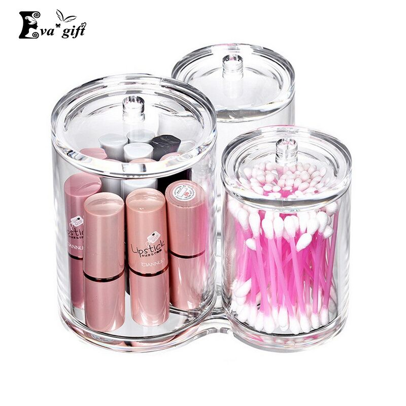 Transparent acrylic Cotton swabs box cosmetic brush 3 in 1 storage box Cosmetic Jewelry organizer Makeup