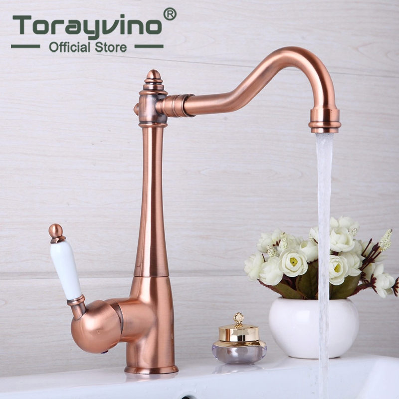 Antique Copper 360 Swivel Chrome Brass Finish Deck Mounted Stream Spout Tap kitchen Sink Faucet Hot & Cold Mixer Taps antique brass swivel spout kitchen sink faucet dual cross handles basin water tap deck mounted wnf246
