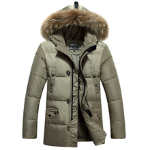 2016 New Men's Down Jacket  Long Down Jacket Thick Warmth High-Quality White Duck Down 95% Hooded Jacket Leisure Comfort WZ351
