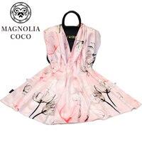 MAGNOLIA Silk Scarf 100% Silk Satin Long Scarf Women Shawls Luxury Scarve Brand Big Sized Silk Shawl Quality Print Hijab
