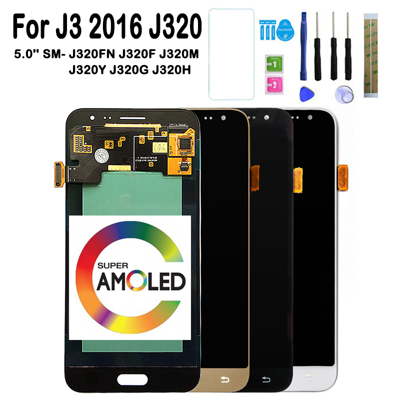 <font><b>J320</b></font> <font><b>LCD</b></font> For Samsung Galaxy J3 2016 <font><b>J320</b></font> J320F J320FN J320A <font><b>J320</b></font> /DS <font><b>AMOLED</b></font> <font><b>LCD</b></font> Display Touch Screen Digitizer Assembly image