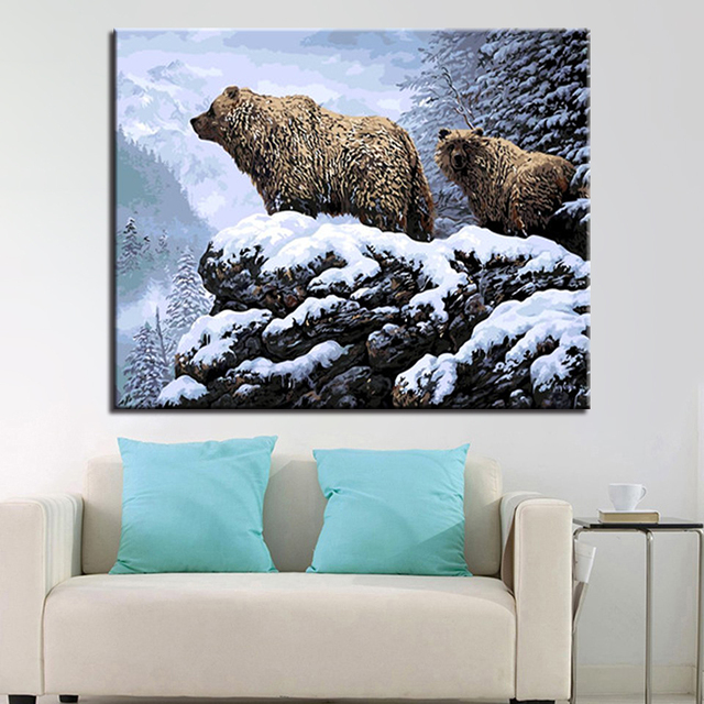 Oil Paint Painting By Numbers Diy Pictures Drawing Bear Coloring On Canvas By Hand Framework Wall Modular Paints Artwork