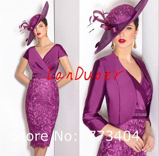 Великолепная фиолетовый мать невесты платья с курткой колен v-образным вырезом свадебное гость наряд vestidos де пласа-мадре de la novia