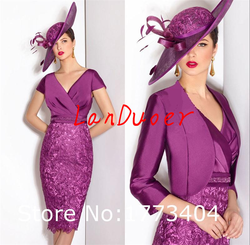 Gorgeous purple mother of the bride dresses with jacket for Purple dresses for weddings knee length