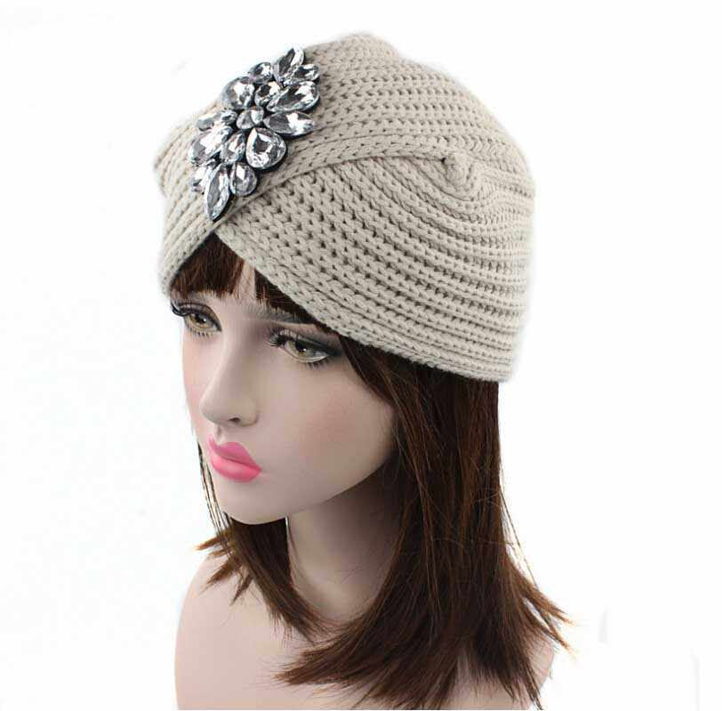 ... 2017 New Fashion women winter warm hats Rhinestone India cap for women  Turban hats women s head ... 5738b8a5dc