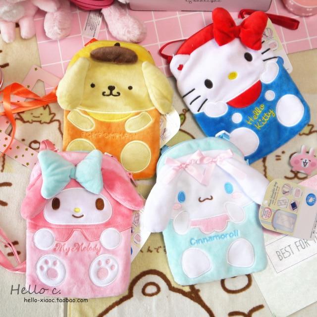 d8279cc7c78 New Cartoon Hello Kitty My Melody Cinnamoroll Dog Plush Bag Children Purse  Girls Plush Wallet Shoulder Phone Bags For Kids Gift