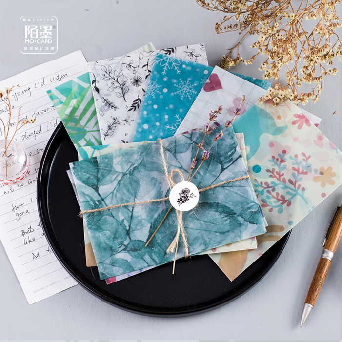2packs Cute Watercolor Plants Envelope Sealing Sticker Set Parchment Paper Semitransparent Photo Postcard Letter Notes Storage