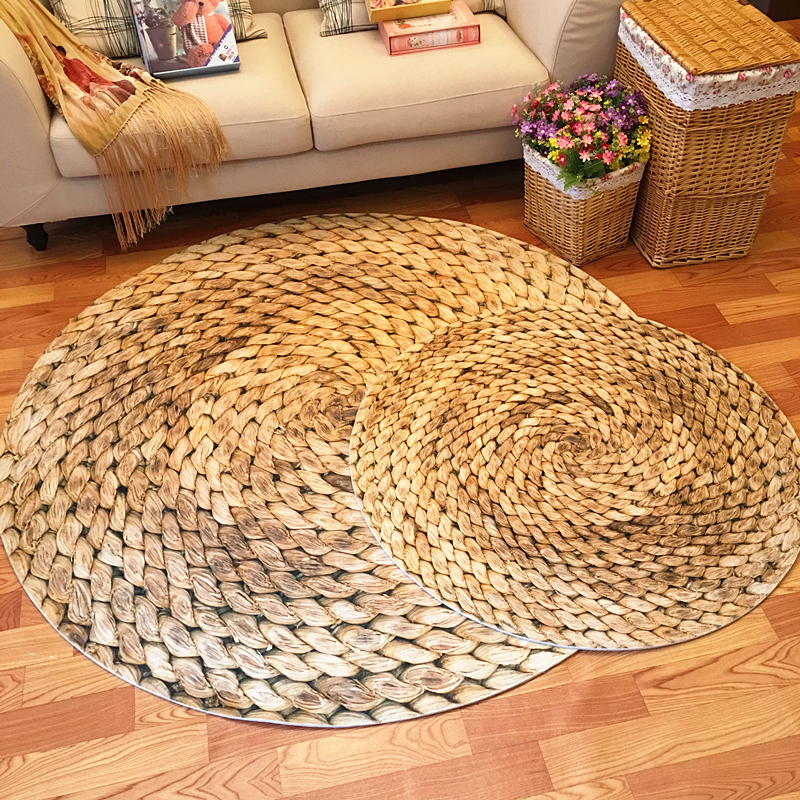 Large Round Carpet 60/80/100/120cm Mat Japanese Modern Minimalist Living Room Bedroom Round Coffee Table Swivel Chair Rug